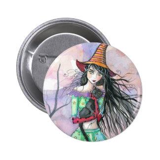 Pin del botón del gato de la bruja de Halloween