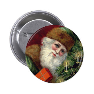 Pin del botón del navidad de Papá Noel del vintage
