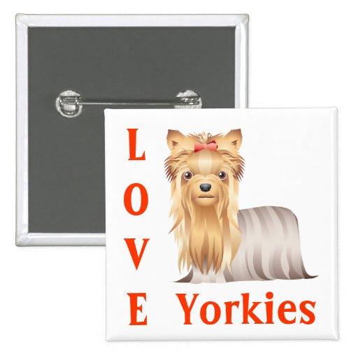 Pin del botón del perro de perrito de Yorkshire