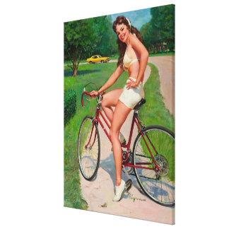 Pin del ciclista de la bicicleta de Gil Elvgren de Impresiones En Lienzo Estiradas