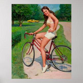 Pin del ciclista de la bicicleta de Gil Elvgren de Póster