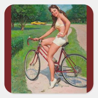 Pin del ciclista de la bicicleta de Gil Elvgren Pegatina Cuadrada