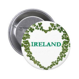 Pin del corazón de Irlanda del trébol Pin Redondo 5 Cm