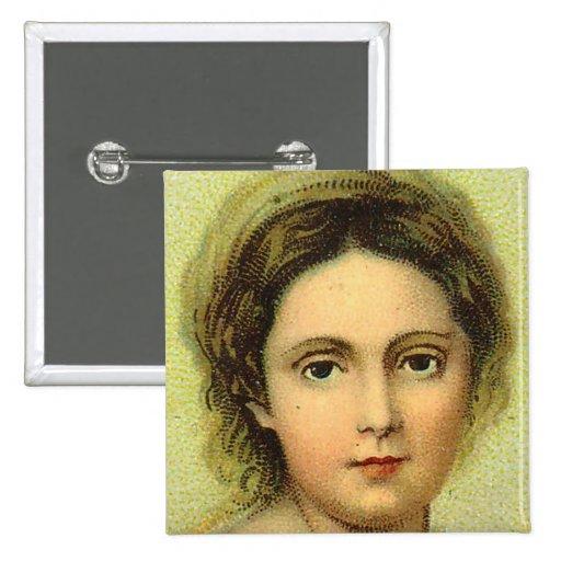 Pin del cuadrado de la cara de la mujer del vintag