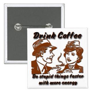 Pin del cuadrado del café de la bebida