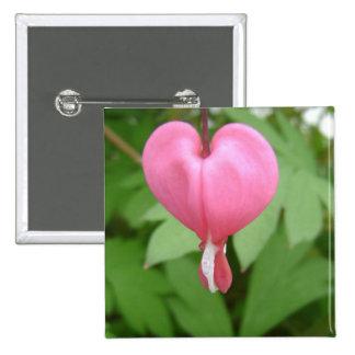Pin del cuadrado del flor del corazón sangrante
