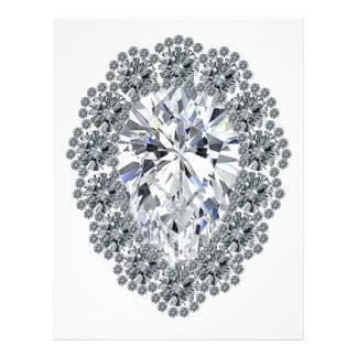 Pin del diamante de la pera plantilla de membrete