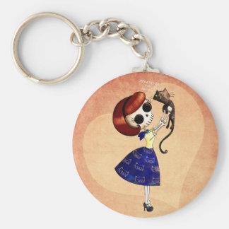 Pin del esqueleto encima del chica con su gato llavero redondo tipo pin