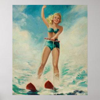 Pin del esquí acuático del chica encima del arte póster