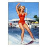 Pin del esquí acuático para arriba tarjeta de felicitación