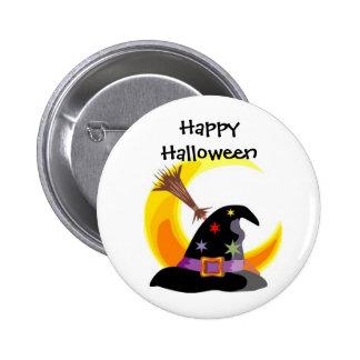 Pin del feliz Halloween del gorra de las brujas -  Pin Redondo 5 Cm