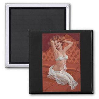 Pin del gabinete de señora encima del arte imán cuadrado