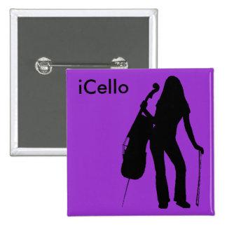 Pin del iCello (púrpura) Pin Cuadrada 5 Cm