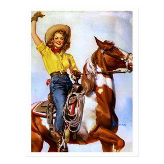 Pin del jinete de la vaquera para arriba tarjetas postales