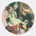 Pin del juego de niños del vintage la cola en el pegatina redonda
