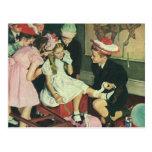 Pin del juego de niños del vintage la cola en el postal