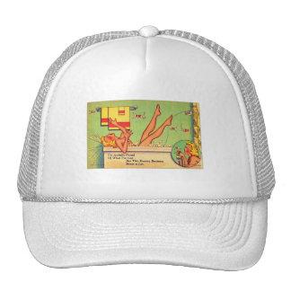 Pin del kitsch del vintage encima de la postal del gorros bordados