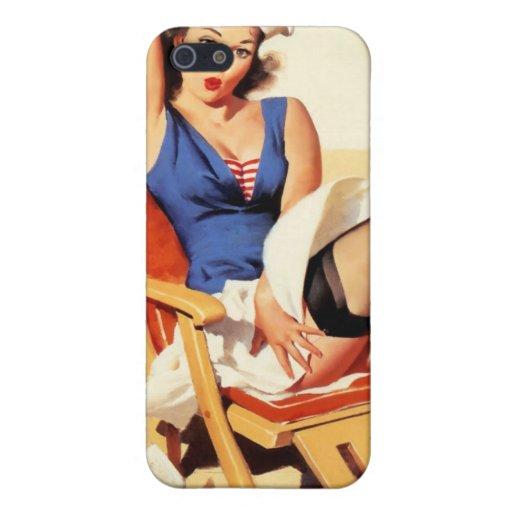Pin del marinero de la silla de cubierta encima de iPhone 5 carcasas