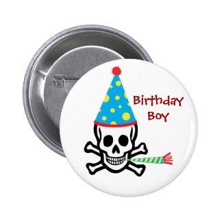 Pin del muchacho del cumpleaños del cráneo pin redondo 5 cm