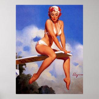Pin del nadador del tablero de salto de Elvgren de Posters