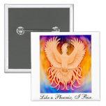 Pin del pájaro de Phoenix Pin Cuadrada 5 Cm