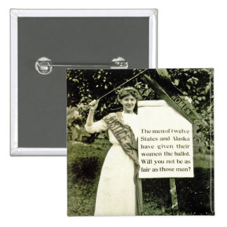 Pin del Suffragette del vintage Pin Cuadrada 5 Cm