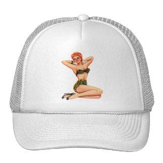 Pin del vintage 50s encima del kitsch modelo del gorras de camionero