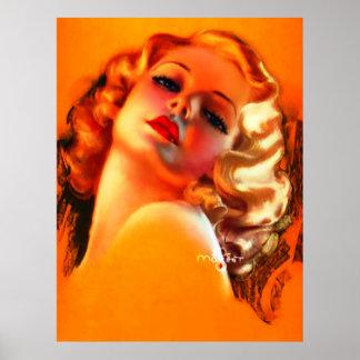 Pin del vintage de Zoë Mozert encima del chica Impresiones