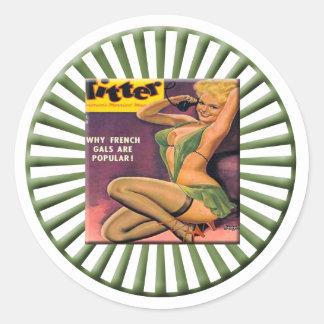 Pin del vintage encima del chica pegatina redonda