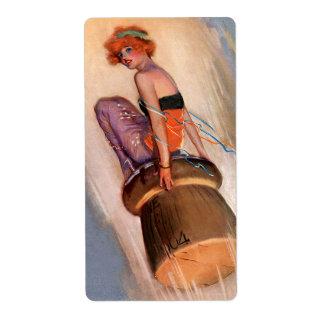 Pin del vintage encima del chica y del corcho de C Etiqueta De Envío
