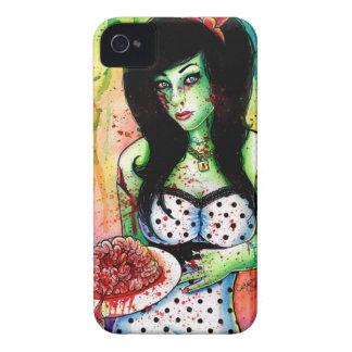 Pin del zombi del arco iris encima del chica funda para iPhone 4