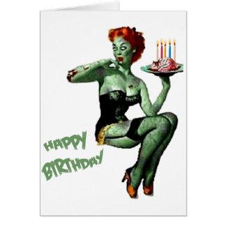 Pin del zombi encima del cumpleaños tarjeta de felicitación