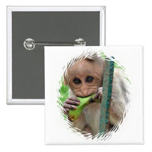 Pin divertido del cuadrado de la imagen del mono