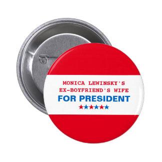 Pin divertido del presidente 2016 botón de Hillary