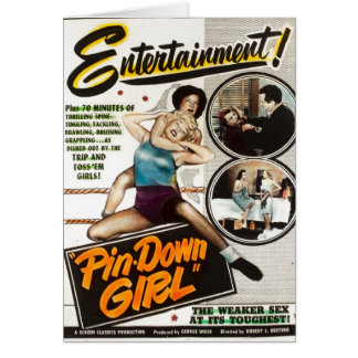 Pin Down Girl Vintage Lady Wrestlers Movie Poster Card