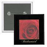 Pin elegante de la dama de honor del rosa rojo del