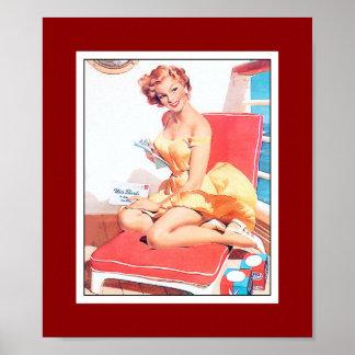 Pin encima de la impresión retra del vintage del a póster