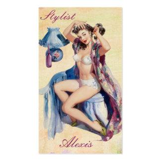 Pin encima de tarjetas del perfil del estilista tarjeta de visita
