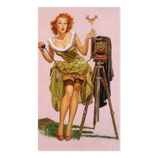 Pin encima de tarjetas del perfil del fotógrafo plantilla de tarjeta personal