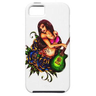 Pin encima del chica con la guitarra funda para iPhone SE/5/5s