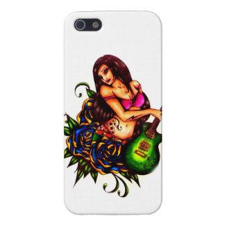 Pin encima del chica con la guitarra iPhone 5 fundas