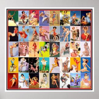 Pin encima del collage retro 2 de la impresión del póster
