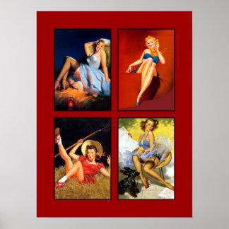 Pin encima del collage retro 6 de la impresión del póster