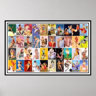 Pin encima del collage retro de la impresión del v póster