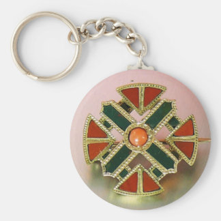Pin escocés del jaspe del oro de la ágata llavero redondo tipo pin