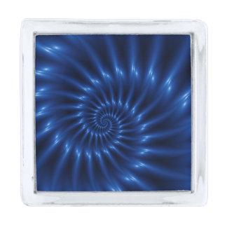 Pin espiral azul eléctrico de la solapa del insignia plateada