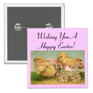 Pin feliz de los polluelos del vintage de Pascua