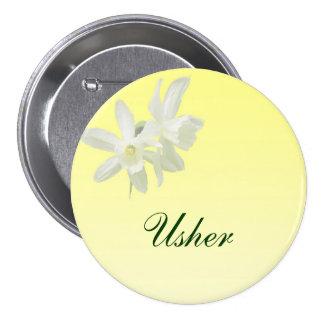 Pin floral amarillo de Usher que se casa Pin Redondo 7 Cm