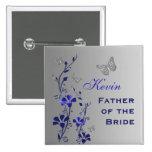 Pin floral del padre de la mariposa azul y de plat