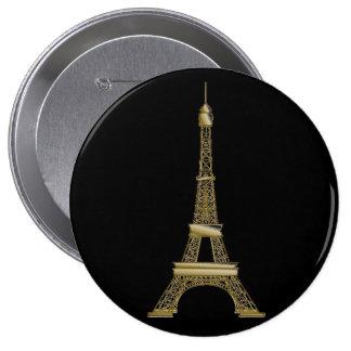 Pin francés del botón de la torre Eiffel del negro